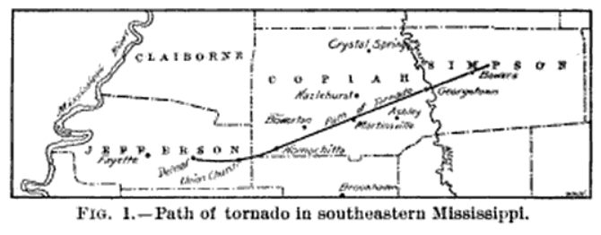 Bowerton-Georgetown, MS F4 Tornado – January 31, 1908