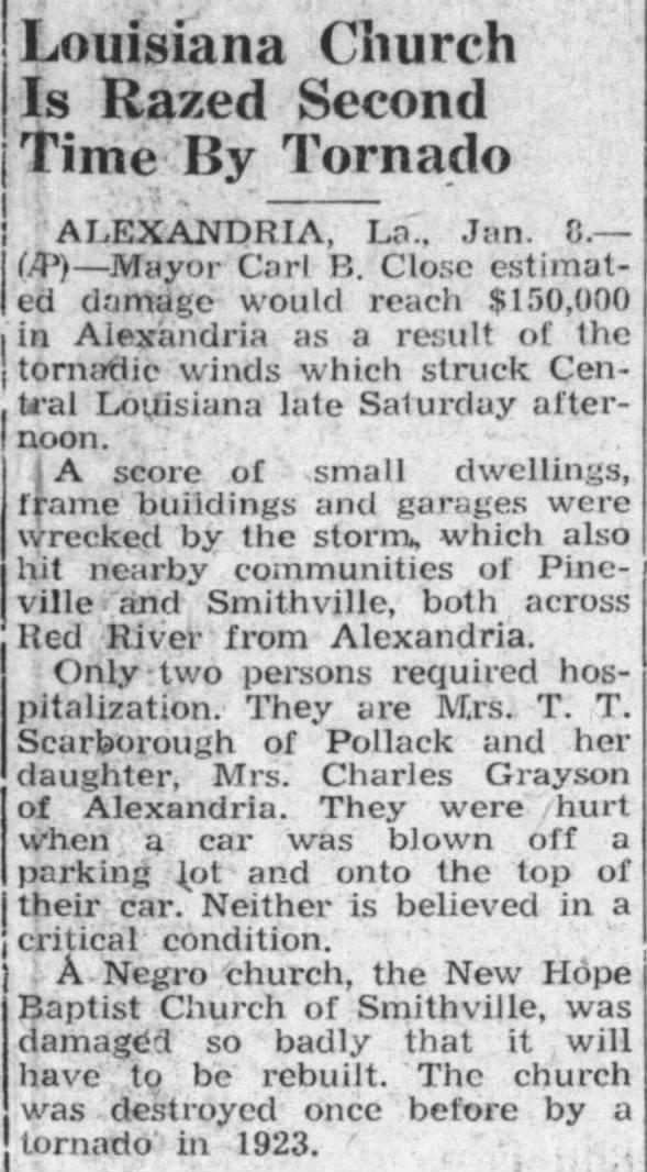 Alexandria, LA F3 Tornado – January 6, 1951