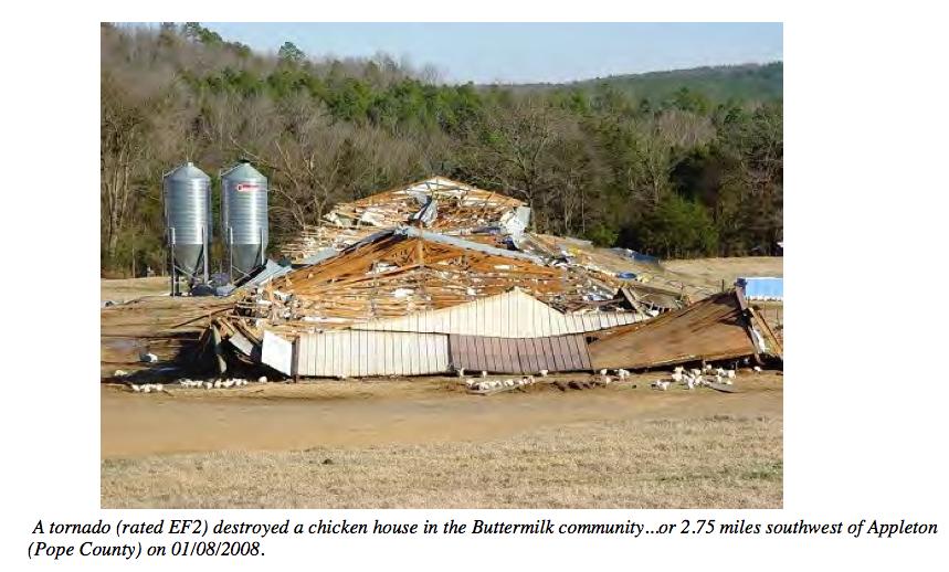 Pope, Conway, Van Buren County, AR EF2 Tornado – January 8, 2008