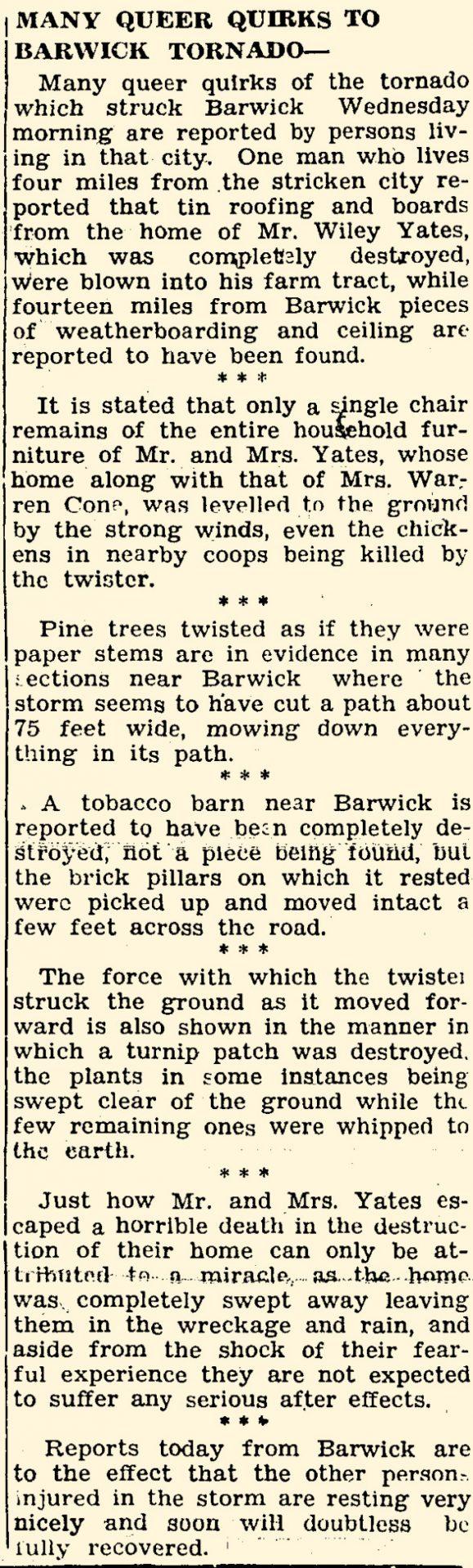 Barwick, GA F2 Tornado – January 25, 1933