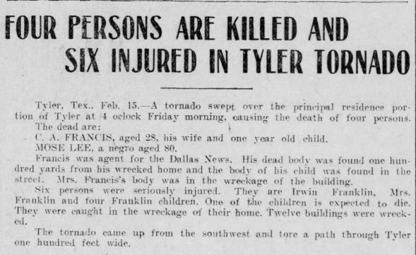 Tyler, TX F3 Tornado – February 14, 1908