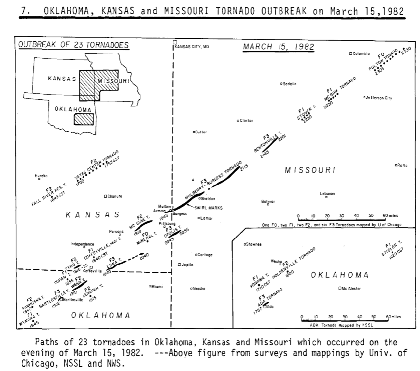 Girard KS to Osceola, MO F3 Tornado – March 15, 1982