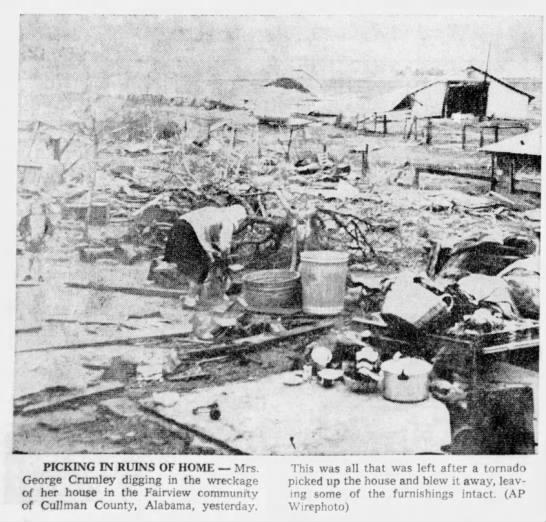 Cullman County, AL F4 Tornado – March 11, 1963