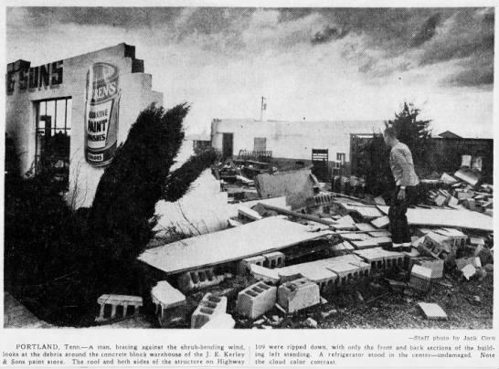 An F2 (possibly F3) in Portland, TN in 1963 – March 19, 1963