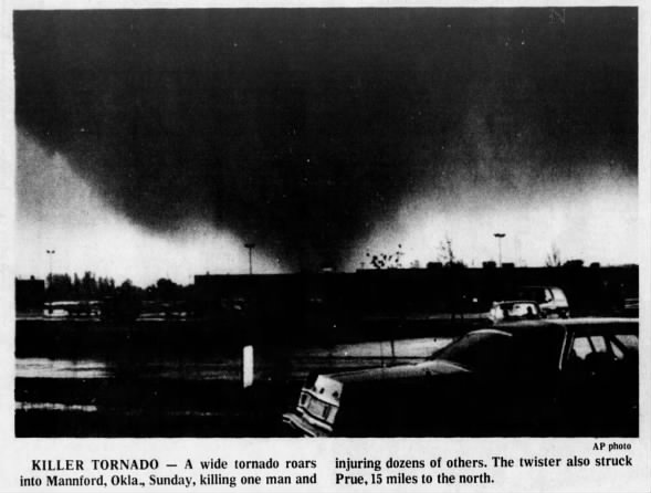 Mannford, OK F4 Tornado – April 29, 1984
