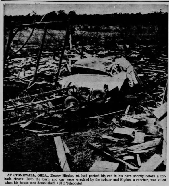 Harden City-Stonewall, OK F4 Tornado – May 9, 1959