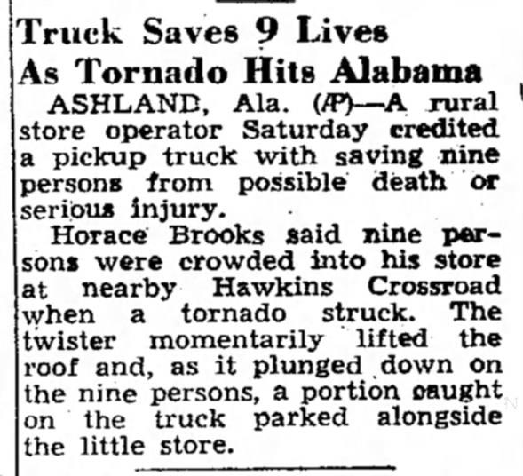 Millerville-Lineville, AL F4 Tornado – May 1, 1953