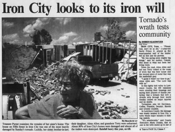 Iron City-Mary's Chapel F3 Tornado – June 26, 1994
