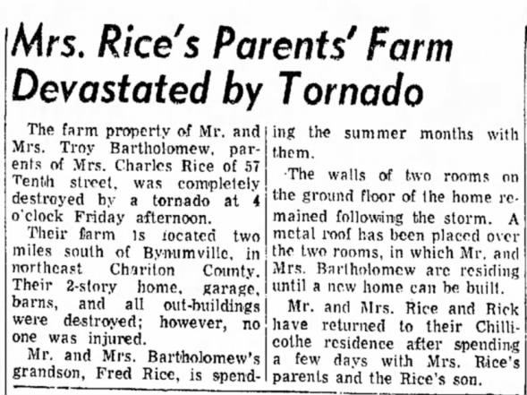 Mussel Fork-Callao, MO F4 Tornado – June 12, 1970