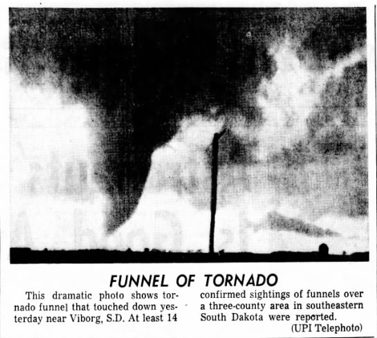 Yankton-Turner County, SD F4 Tornado – June 7, 1965