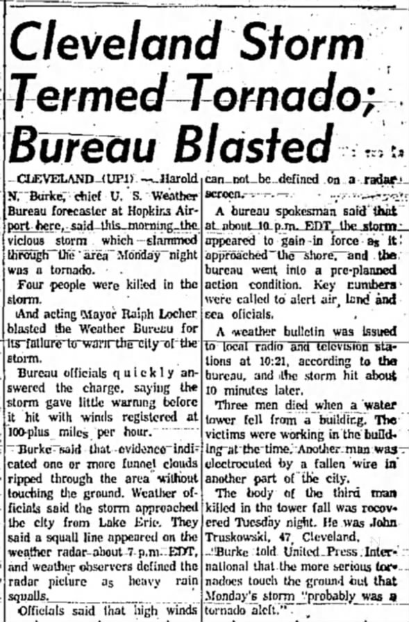 Cleveland, OH F2 Tornado – August 20, 1962