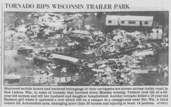 Kendall-New Lisbon, WI F2 Tornado – August 12, 1985