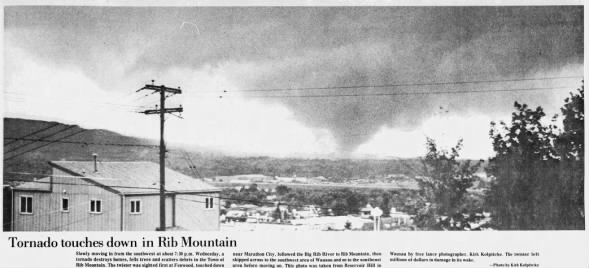 Rib Mountain-Wausau, WI F4 (F3?) Tornado – August 31, 1977