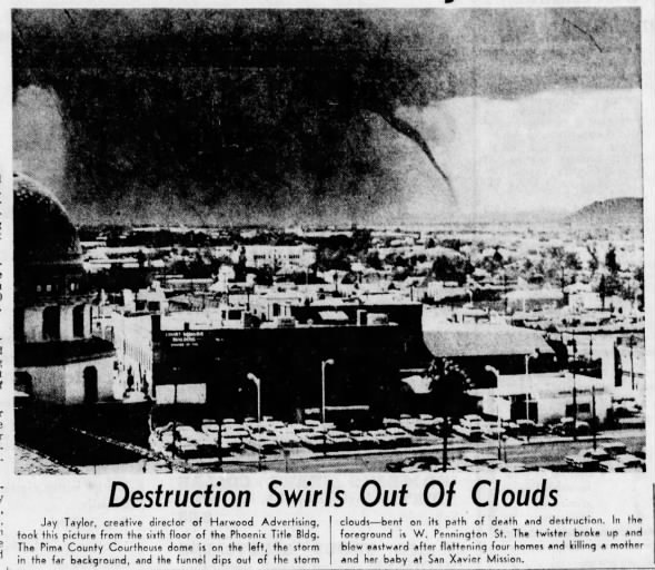 San Xavier Mission, AZ F2 Tornado – August 27, 1964