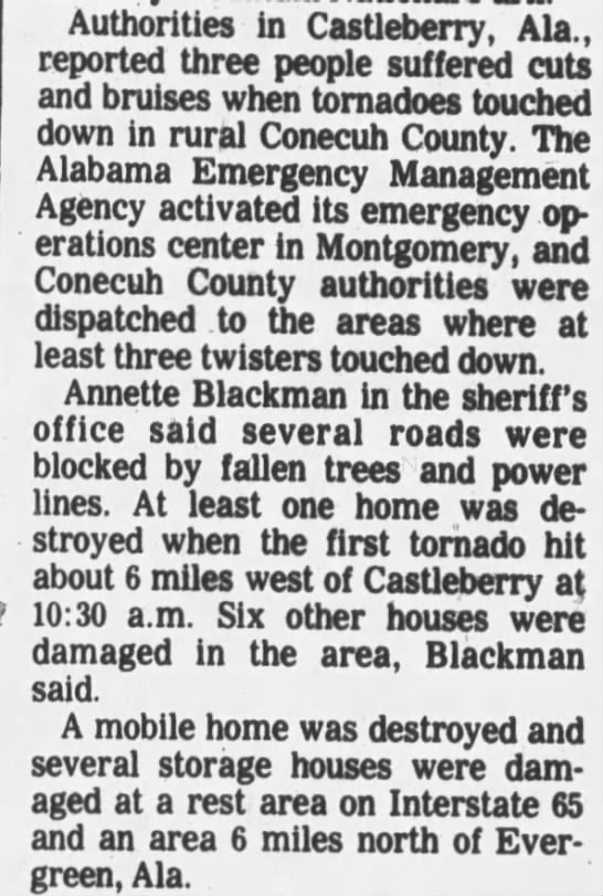 London-Castleberry-Fairview, AL F2 Tornado – September 23, 1985