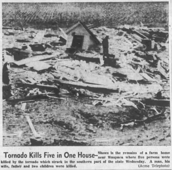 Waupaca, WI F4 Tornado – September 26, 1951