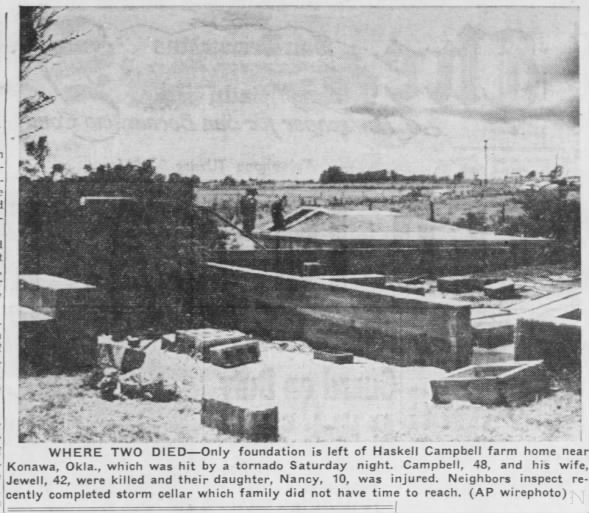 Wayne-Sacred Heart-Konawa, OK F4 Tornado – September 14, 1957