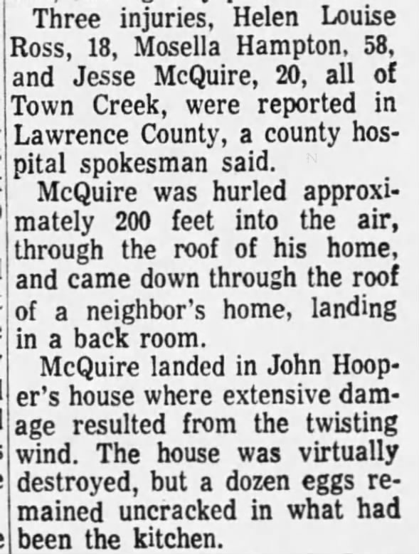 Colbert and Lawrence Counties, AL F3 Tornado – October 24, 1967