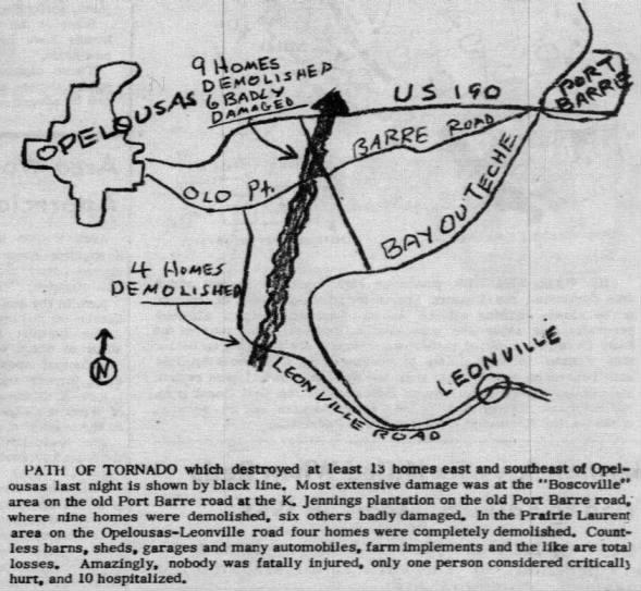 Leonville-Boscoville, LA F3 Tornado – October 15, 1957