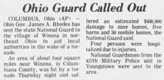 Winona, OH F3 Tornado – October 12, 1978
