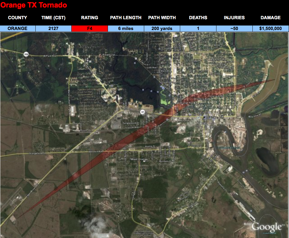 Orange, TX F4 Tornado – November 7, 1957
