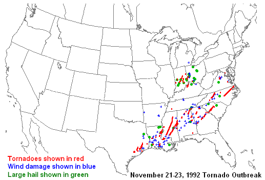 The Widespread November 21-23, 1992 Tornado Outbreak