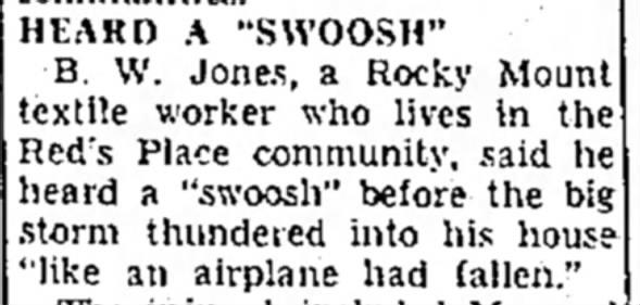 Stantonsburg-Rocky Mount, NC F3 Tornado – November 8, 1957